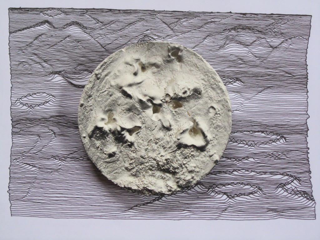 the peri dish experiment - 2011 - plaster; oil; charcoal; pen; paper