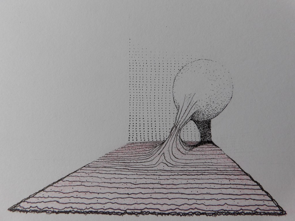 touching the surface - pen; pencil - 2014